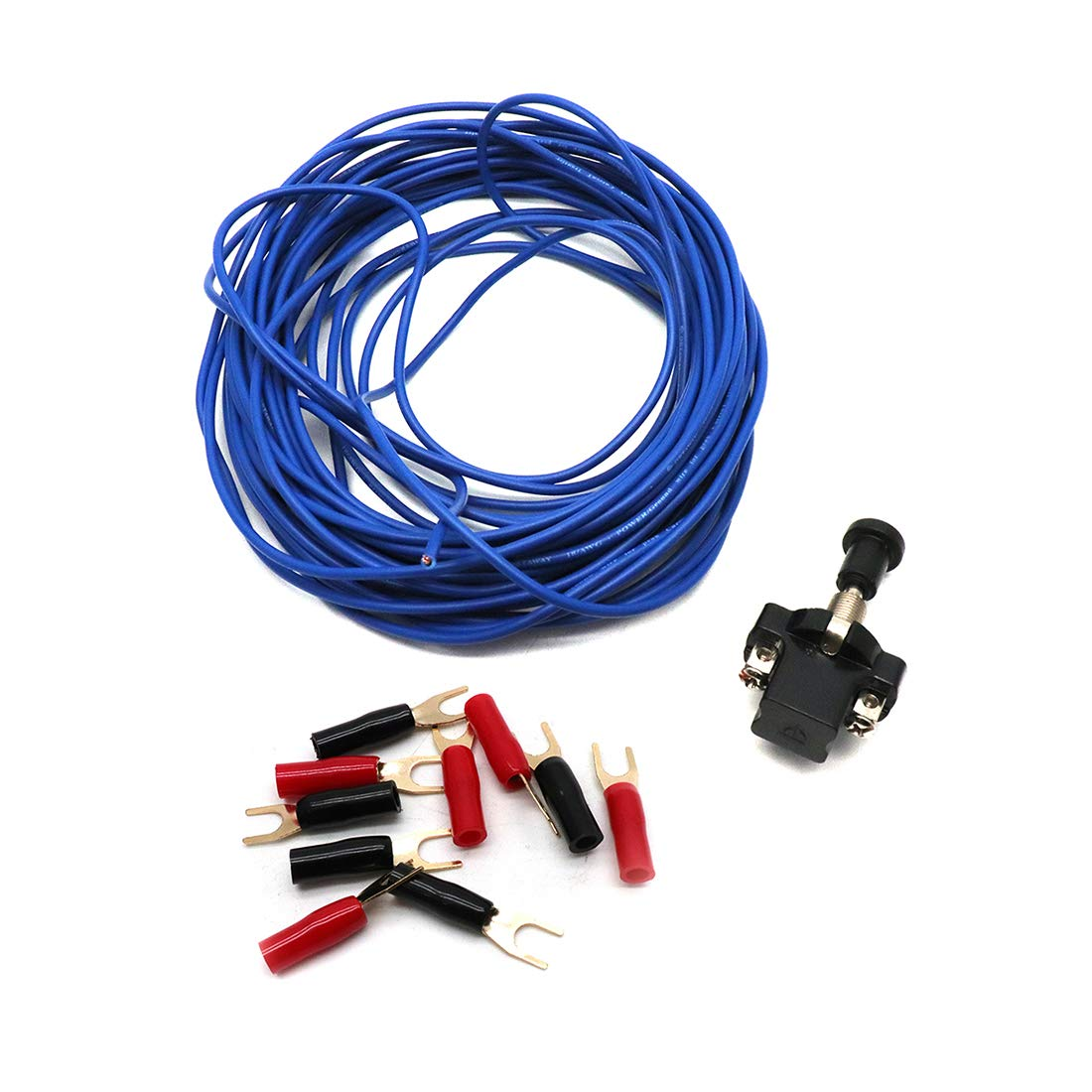 Sydien 18 Gauge 10M/33 Ft Car Audio Home Remote Wire with Connection Terminals&Push-Pull Switch for Car Audio Speaker Amplifier Remote Trailer Wiring