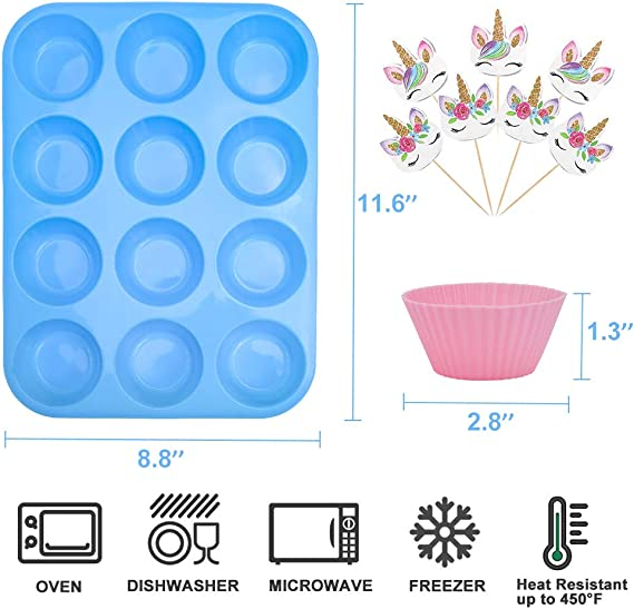 Nonstick /& Easy Clean Pastry Muffin Molds with 8pcs Cake Decorating Icing Piping Tips Numola Reusable Silicone Baking Cups 24 pack of Colorful Silicone Cupcake Liners