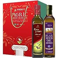 AGRIC 阿格利司 健康1+1 礼盒 特级初榨橄榄油500ml+ 亚麻籽油500ml(希腊进口)
