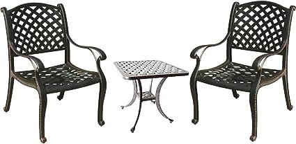 Amazon Com 3 Piece Bistro Set Outdoor Nassau Cast Aluminum Patio Furniture 2 Chairs And 1 End Table Garden Outdoor