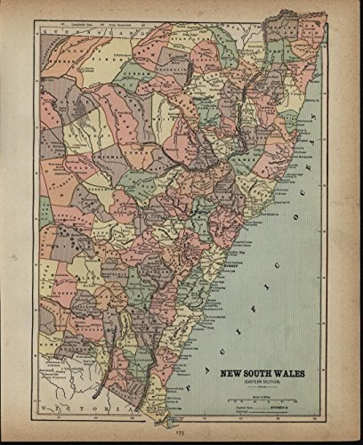 New South Wales Australia Cumberland County 1886 antique detailed color (1886 Colour Map)