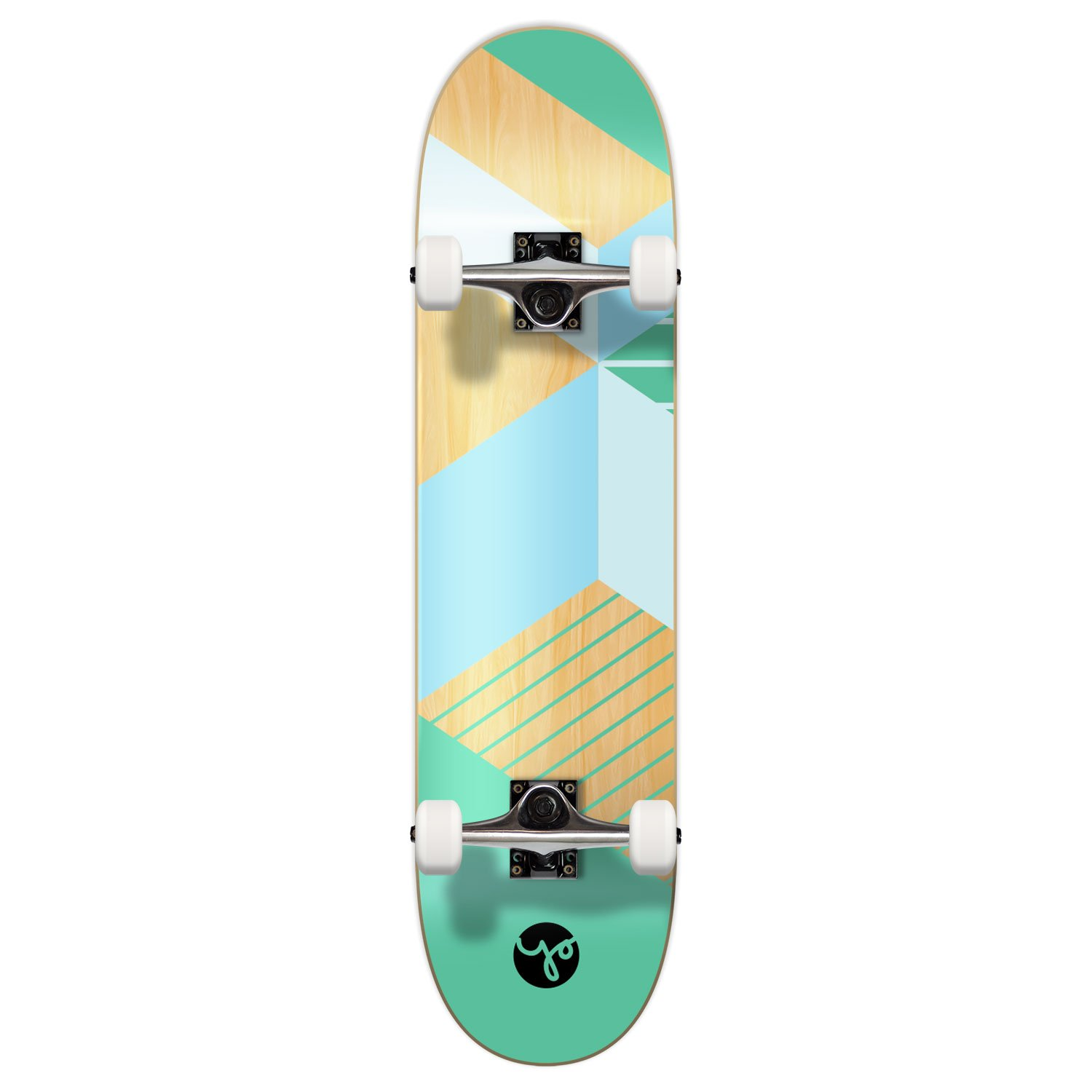 Yocaher Geometric, Wander, Candy Series of Standard Skateboards and Cruisers (Complete-02-7.75'' - Geometric Green, 7.75)