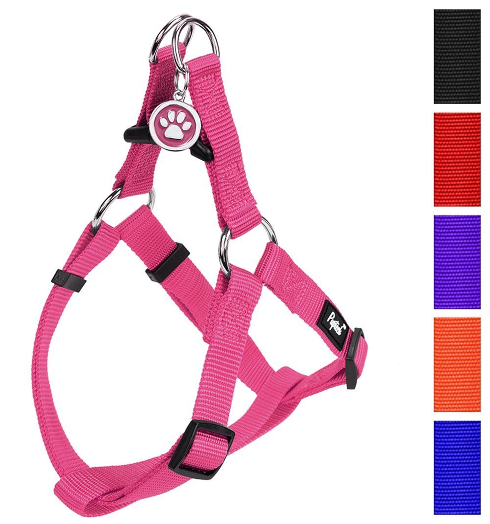 PUPTECK No Pull Dog Harness Adjustable Basic Nylon Step in Puppy Vest Outdoor Walking Chest Girth 15.6''-23.7'' Medium Pink