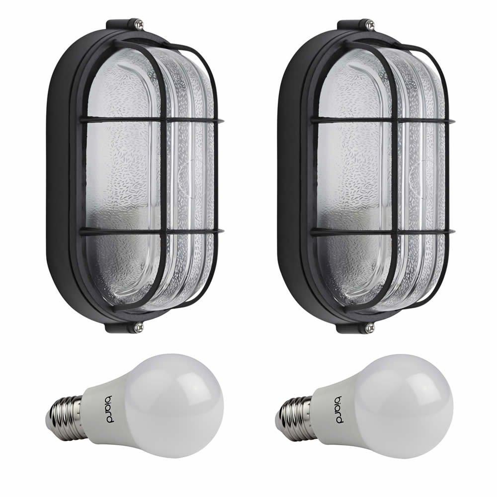 Biard E27 Outdoor Oval Bulkhead Wall Security Light Caged Garden Lamp IP54