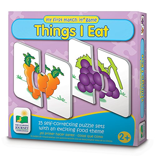The Learning Journey My First Match It - Things I Eat - 15 Self-Correcting Food Themed Image Matching Puzzles One Piece Card Game