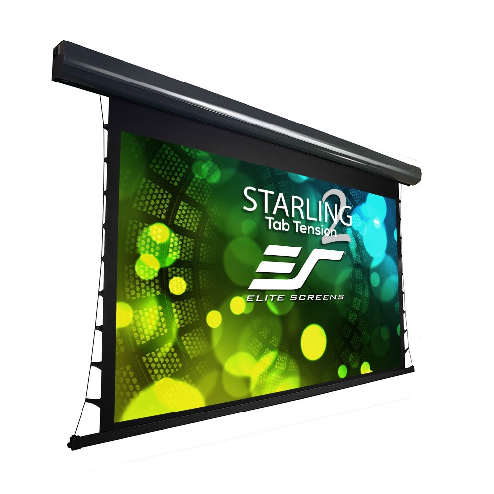 Elite Screens Starling Tab-Tension 2, 120-inch Diagonal 16:9, 8K 4K Ultra HD Ready Ceiling Light Rejecting and Ambient Light Rejecting Electric Projector Screen, CineGrey 5D Projection Material, STT120UHD5-E12