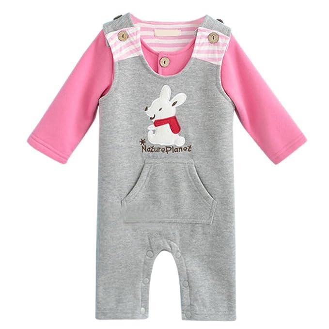 Happy Cherry Pijama Ropa de Dos Piezas Body Pelele Pijama Mono de Algodón con Bolsillo para