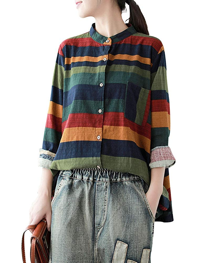 bcc660afc4c Top1  Duberess Women s Plus Size 100% Linen Loose Round Neck Short Sleeve  Oversized Blouse