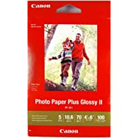 Heavyweight Canon 265 GSM Photo Paper Plus Glossy II 100 Sheets, 6-Inches Length, (35993)