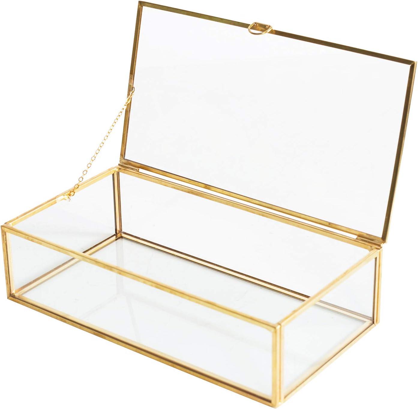 Golden Vintage Glass Lidded Box Edge Bracelet Keepsake Decorative Jewelry Display Personalized Large Clear Rectangle Box Rings Bracelet Golden Organizer Home Decor 8x4 5x2in Home Kitchen