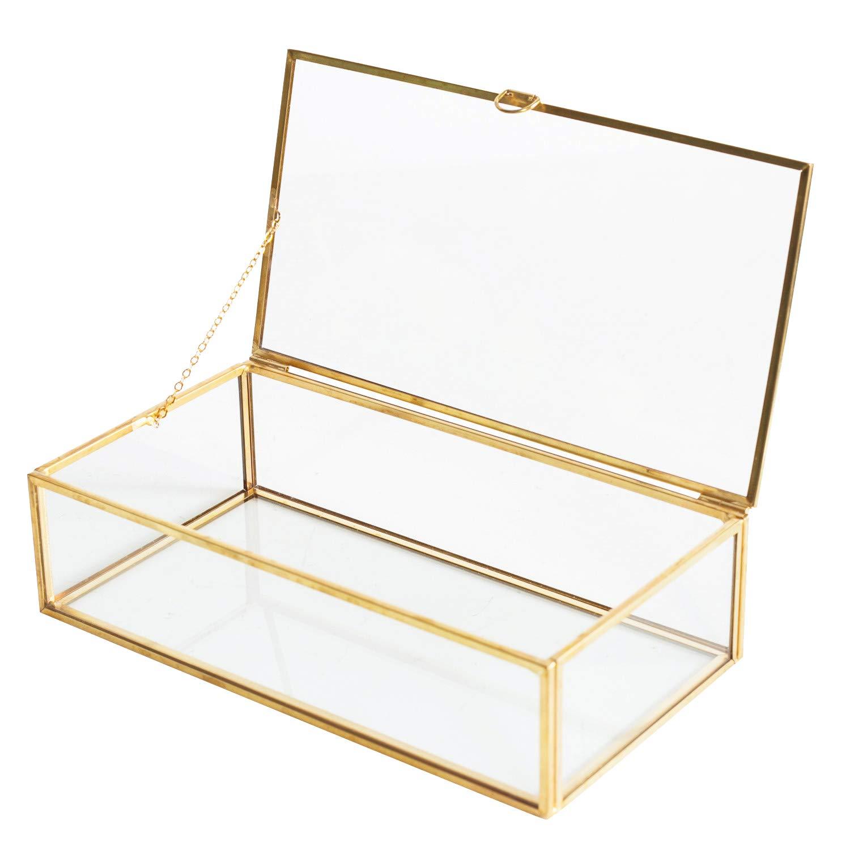 Golden Vintage Glass Lidded Box Edge Bracelet Keepsake Decorative Jewelry Display Personalized Large Clear Rectangle Box Rings Bracelet Golden Organizer Home Decor (8x4.5x2in) by Levilan