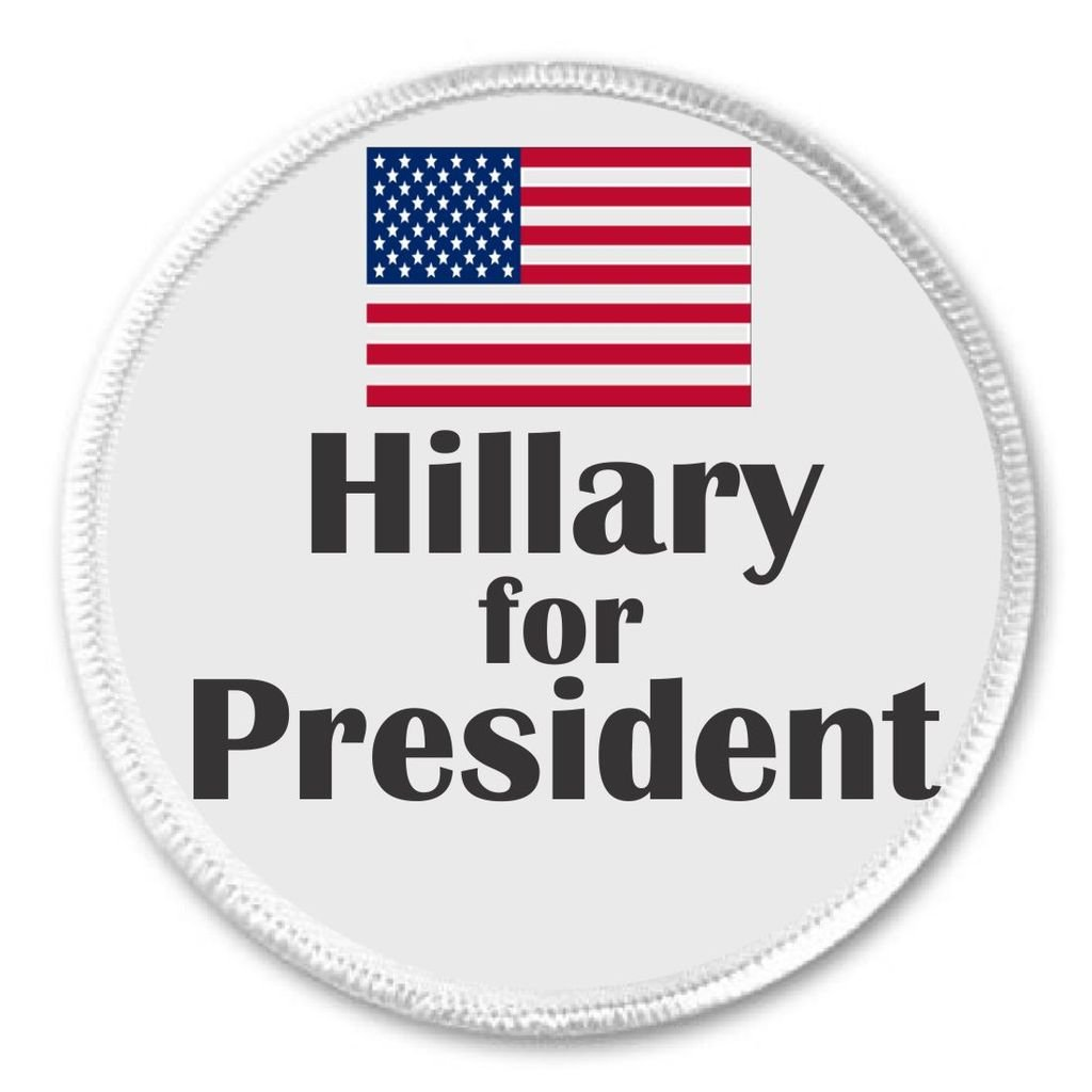Hillary for President (American Flag) 3 Sew On Patch Vote Clinton