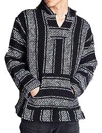 Striped Woven Eco-Friendly Jacket Coat Hoodie (Black, XX-Large)