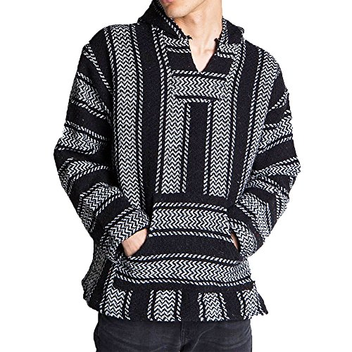 Baja Joe Striped Woven Eco-Friendly Jacket Coat Hoodie (Black, XX-Large)