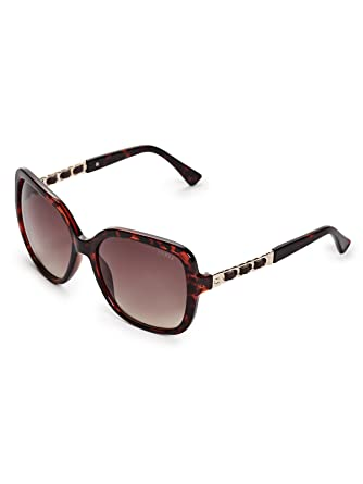 c79024a944ee GUESS Womens GF6060 Shiny Havana With Gold Brown Gradient Lens One Size