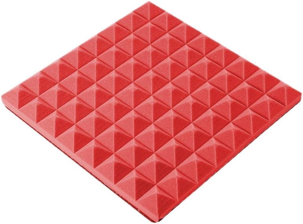 CHANG-dq 10PCSベッドルーム音響パネル、ドラムルームピアノルームレコーディングスタジオ屋内多機能吸音綿 ベッドルーム防音綿 (Color : Red)