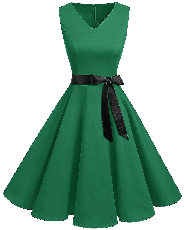 TALLA XL. Bridesmay Vestido de Cóctel Fiesta Mujer Verano Años 50 Vintage Rockabilly Sin Mangas Pin Up Verde XL
