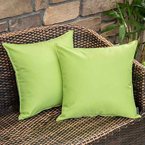 MIULEE Pack of 2 Decorative Outdoor Waterproof Pillow Cover Square Garden Cushion Case PU Coating Throw Pillow Cover Shell for Tent Park Couch 18x18 Inch Greenery (Cushion Outdoor Covers Bench)