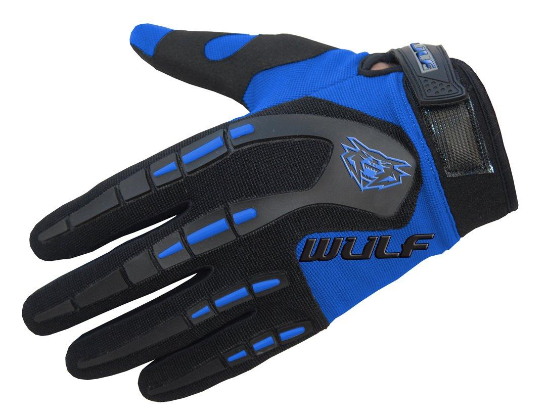 49-50cm /& XXS Gloves Wulfsport Attack Motorcycle Gloves 6cm Wulfsport Kids Flite Motocross Motorbike Helmet off Road Blue Helmet M