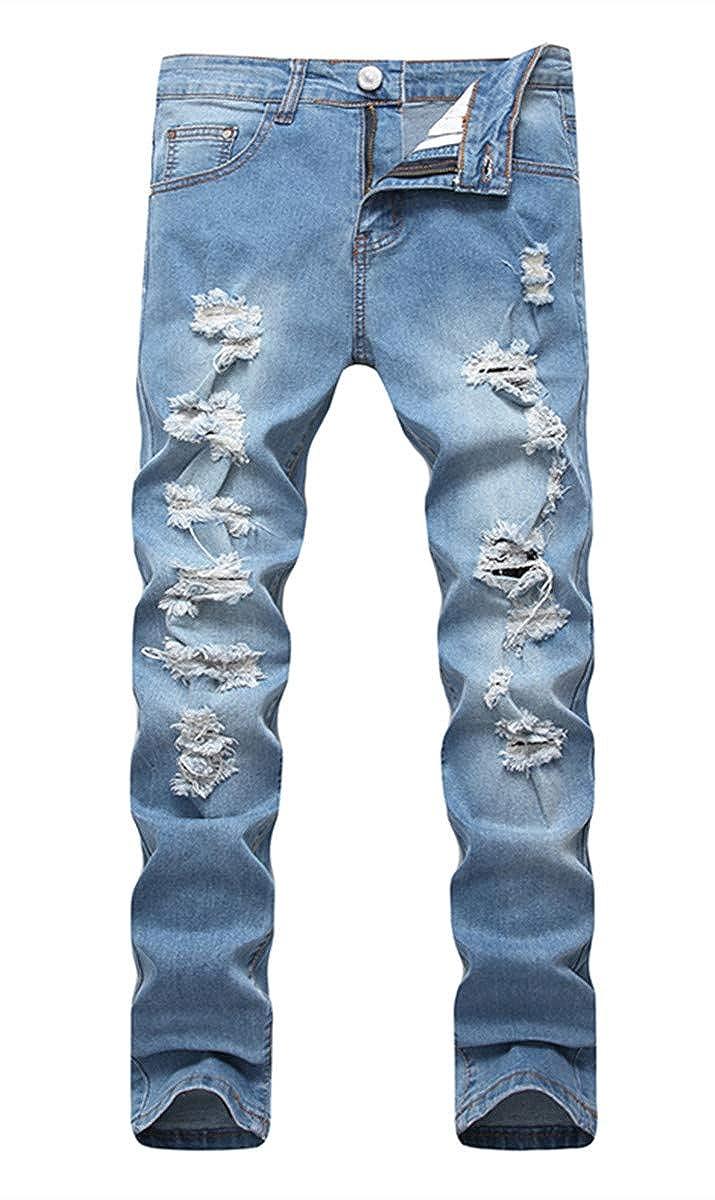 76a55e21111 OKilr Pjik Men's Blue Slim Skinny Fit Distressed Ripped Elastic Tapered Leg  Denim Jeans at Amazon Men's Clothing store: