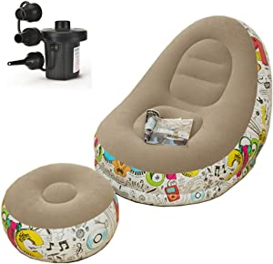 Inflatable Deck Chair with Household air Pump, Lounger Sofa for Indoor Living Room Bedroom, Outdoor Travel Camping Picnic (Graffiti with Grey)