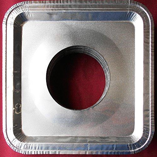 100 Pcs. Aluminum Foil Square Gas Burner Disposable Heavy Thick Quality Bib Liners Covers (8.5