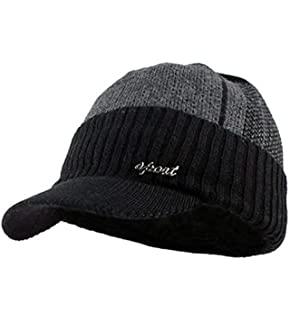 54ac1516a93 YOYEAH Men s Outdoor Newsboy Hat Winter Warm Thick Knit Beanie Cap Fleece  Lined Skull Ski Cap