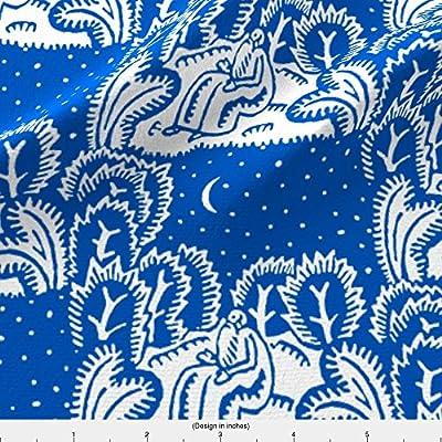 Toile Fabric Stargazer Blue by Keweenawchris Printed on by the Yard by Spoonflower