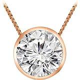 "0.6 Carat Round Diamond Bezel Solitaire Pendant Necklace J Color I2 Clarity w/ 16"" 14K Gold Chain"