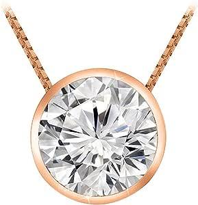 "0.7 Carat Round Diamond Bezel Solitaire Pendant Necklace H Color SI2 Clarity w/ 18"" 14K Gold Chain"