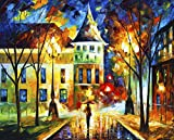 Night Magic is a Limited Edition print from the Edition of 400. The artwork is a hand-embellished, signed and numbered Giclee on Unstretched Canvas by Leonid Afremov. Embellishment on each of these pieces will be slightly different, but the image its...