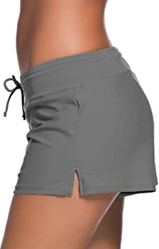 Women Adjustable Drawstring Swim Shorts Ladies Girls Swimwear Board Shorts Comfort Quick Dry Stretch Board Short