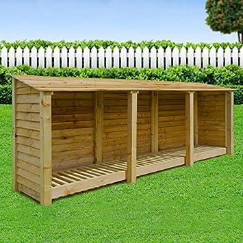 Leñero de EMPINGHAM/jardín almacenamiento, 11 m de ancho x 4 m de alto, madera, marrón, HEAVY DUTY, hecha a mano, tratada a presión.: Amazon.es: Jardín