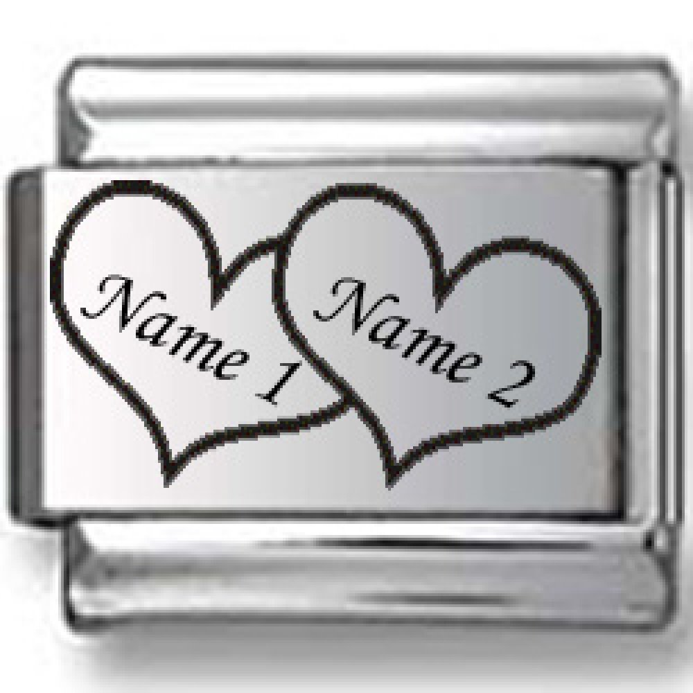 Custom Names in Hearts Laser Italian Charm by CharmsLand (Image #1)