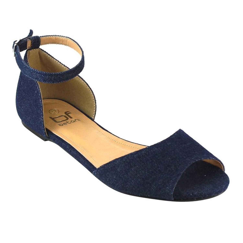 c67145dbf88958 Betani FC11 Women s Ankle Strap D Orsay Ballet Flats Half Size Big cheap