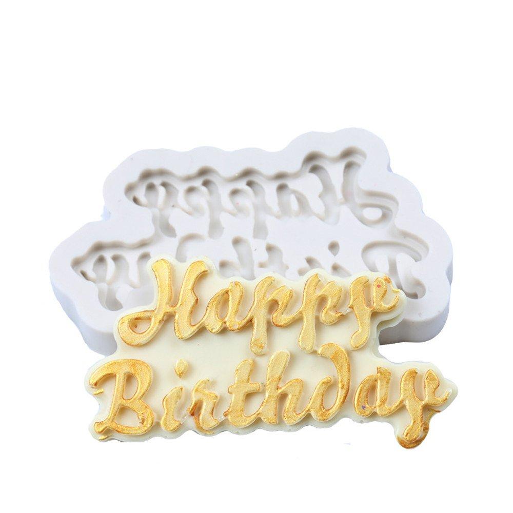 3D Silicone Fondant Cake Mold Happy Birthday Alphabet Chocolate Mousse Cake Mold for Baking Cake Sugar craft Decorating Mold Tool 8x.4.4cm (white)
