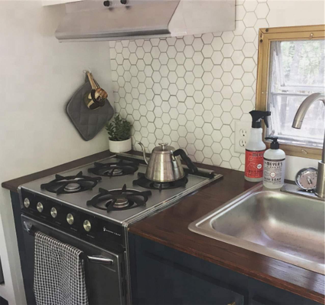 "Carrara Marble Backsplash,HONJAN Renters Groutless Removable Adhesive White Hexagon Vinyl Backsplash for Kitchen Bathroom 10""x10"" Pack of 13 (A) by HONJAN (Image #6)"