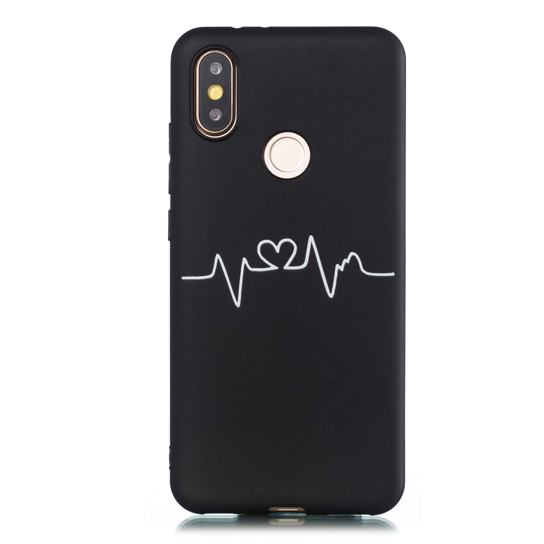 Amor 3 Everainy Funda Compatible para Xiaomi Mi 6X//Xiaomi Mi A2 Silicona Carcasa TPU Suave Caso Goma Caucho Bumper Delgado para Xiaomi Mi A2 Ultrafina Negro Antigolpes Cover