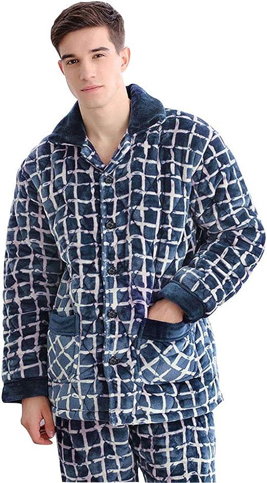 Pijamas otoño e Invierno Hombre algodón Manga Larga Cárdigan Punto ...