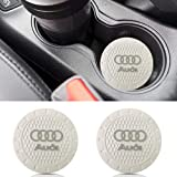 Auto sport 2.75 Inch Diameter Oval Tough Car Logo Vehicle Travel Auto Cup Holder Insert Coaster Can 2 Pcs Pack (White) Fit Audi Accessory