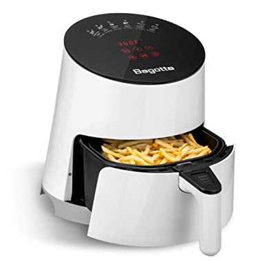 Bagotte Air Fryer, 3.7QT Oilless Electric Hot AirFryer with Full Touch Screen, 1500W Auto Off and Memory Function, Detachable Basket Dishwasher Safe, 6 Cooking Presets and Recipes, for Fast Healthier Food