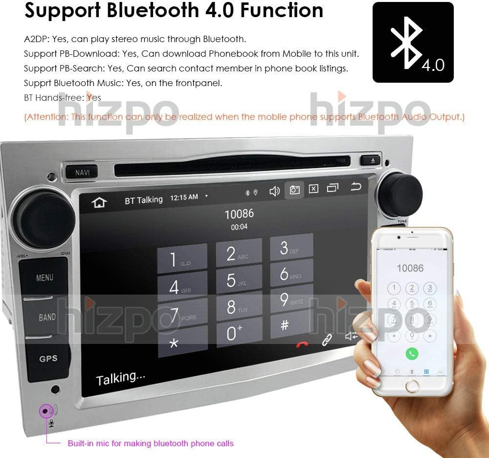 Android 10 7-Zoll-2-Din-Quad-Core-Auto-Stereo-GPS-Navigator Kompatibel mit OPEL Vauxhall Holden Antara Astra H Corsa C//D Zafira Tigra TwinTop Bluetooth 4.0 USB CANBUS Mirrorlink Silber