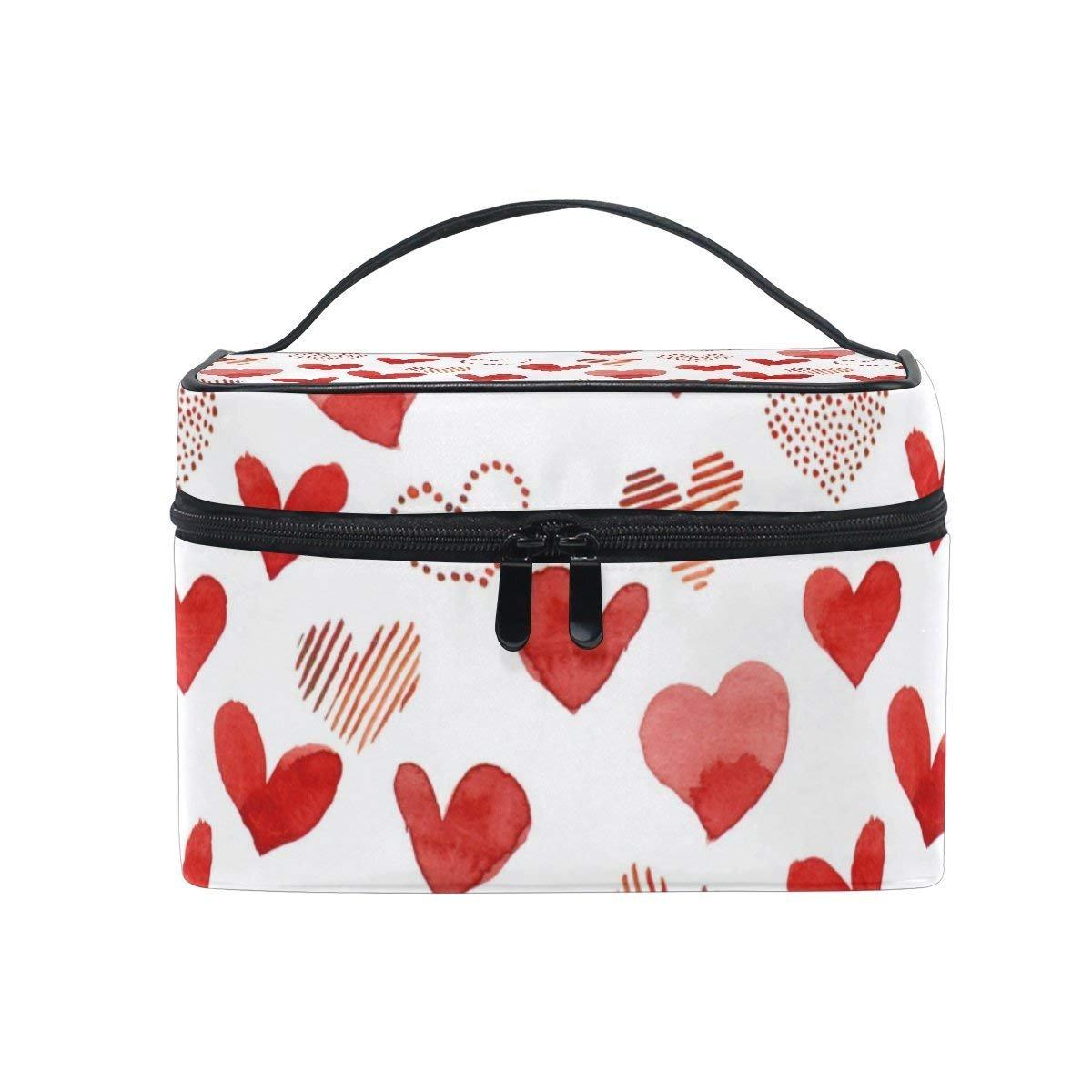 Makeup Bag Red Love Heart Mens Travel Toiletry Bag Mens Cosmetic Bags for Women Fun Large Makeup Organizer