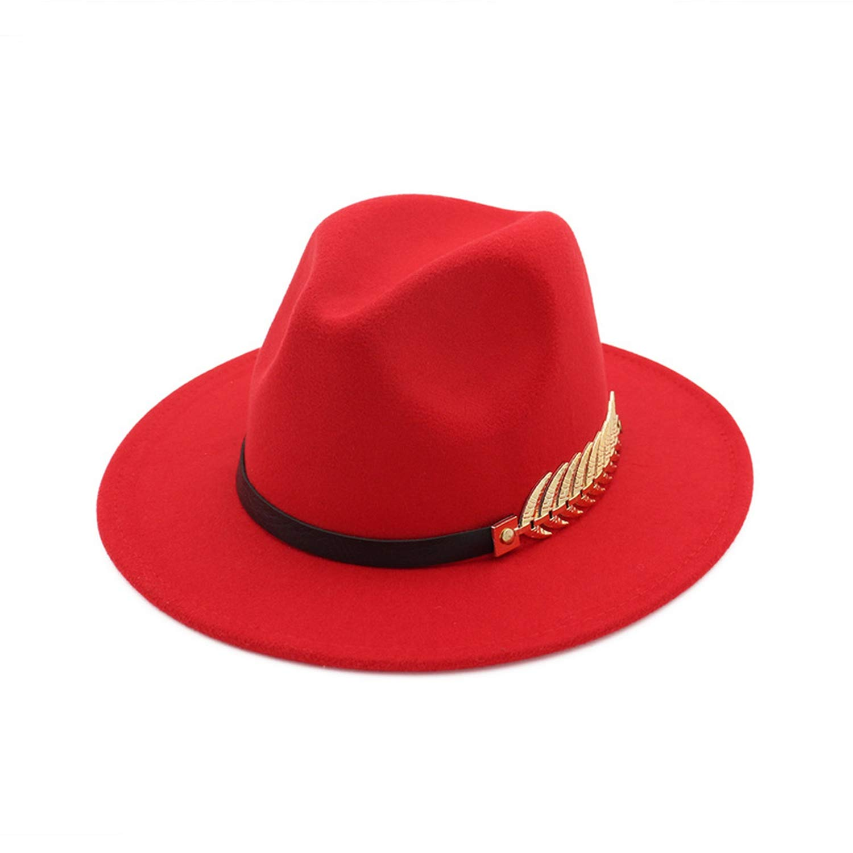 XINBONG British Retro Jazz Cap Women Men Formal Party Trilby Hat Trend Flat Brim Wool Felt Fedoras Hat with Belt Metal