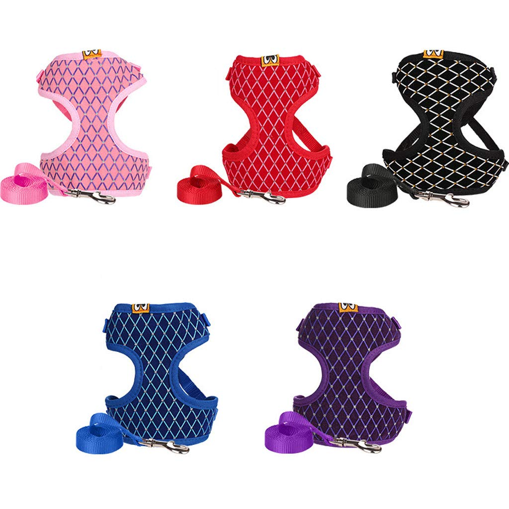 M Dog Belt Vest Type Small and Medium Dog Chain Dog Leash Dog Pet Rope Chest Strap Five-Piece (Size   M)
