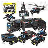 City Swat Set 8 in 1 Mobile Command Centre Truck & Patrol Cars Building Blocks Toys -1095pcs (City Swat)