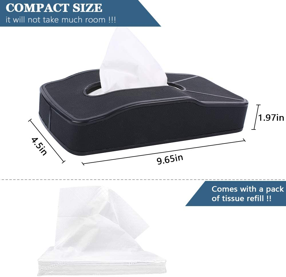 Multi-use Car Tissue Paper Holder with One Tissue Refill for Car /& Truck Car Back Seat Headrest Hanging Tissue Boxes Holder Case HerMia Leather Tissue Holder for Car Black