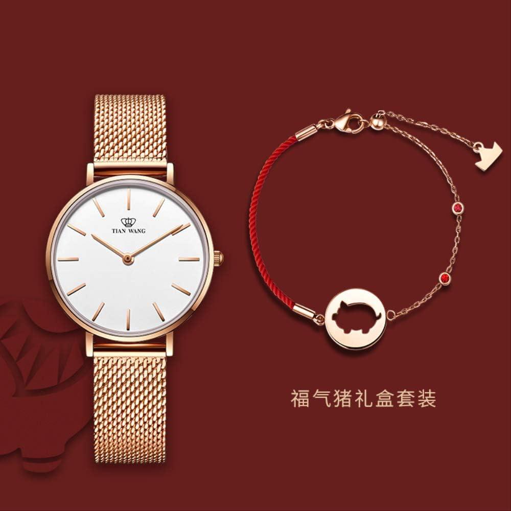 WDXDP Montre Montre À Quartz pour Dames De Mode pour Femmes Montre De Montre Étanche À l\'eau Fuqi pig red rope red bracelet +LS31021P.PW