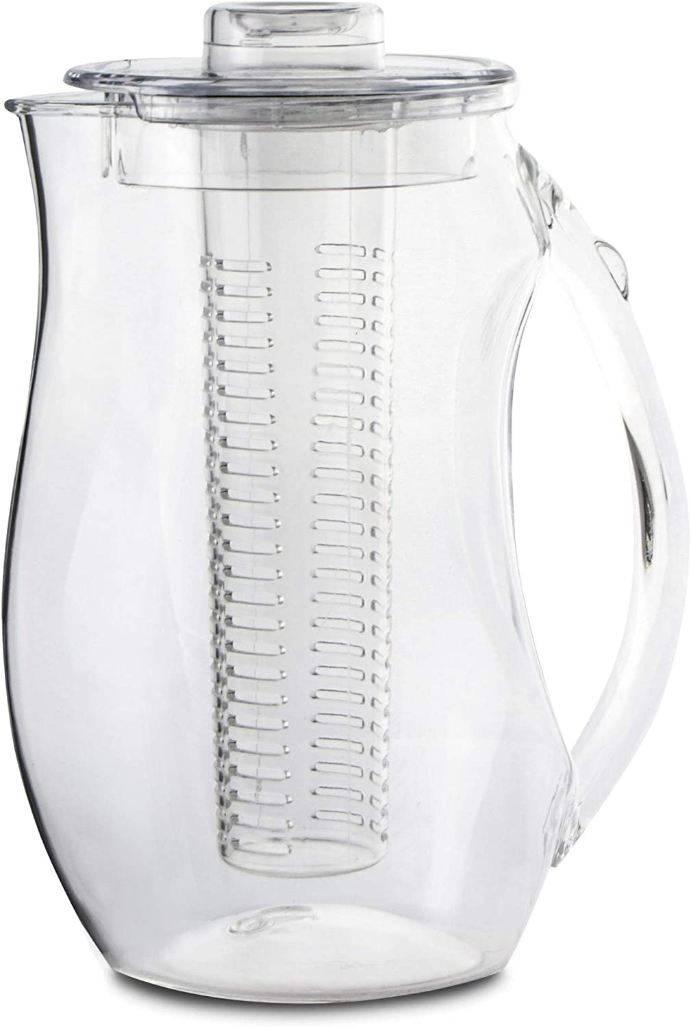 Circleware Acrylic Beverage Dispenser Pitcher with Fruit Infuser, Tube Insert, Lid & Handle Huge 94.6 Ounce-2.8 Liters Carafe for Water Beer Wine Liquor Iced Tea Punch & Best Selling Drinks