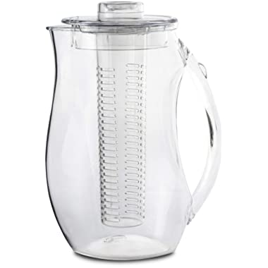 Circleware 10051 Acrylic Beverage Dispenser Pitcher with Fruit Infuser, Tube Insert, Lid & Handle Huge 94.6 Ounce-2.8 Liters Carafe for Water Beer Wine Liquor Iced Tea Punch & Best Selling Drinks